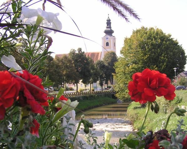 Safenbach mit Pfarrkirche und Blumen@Lederer