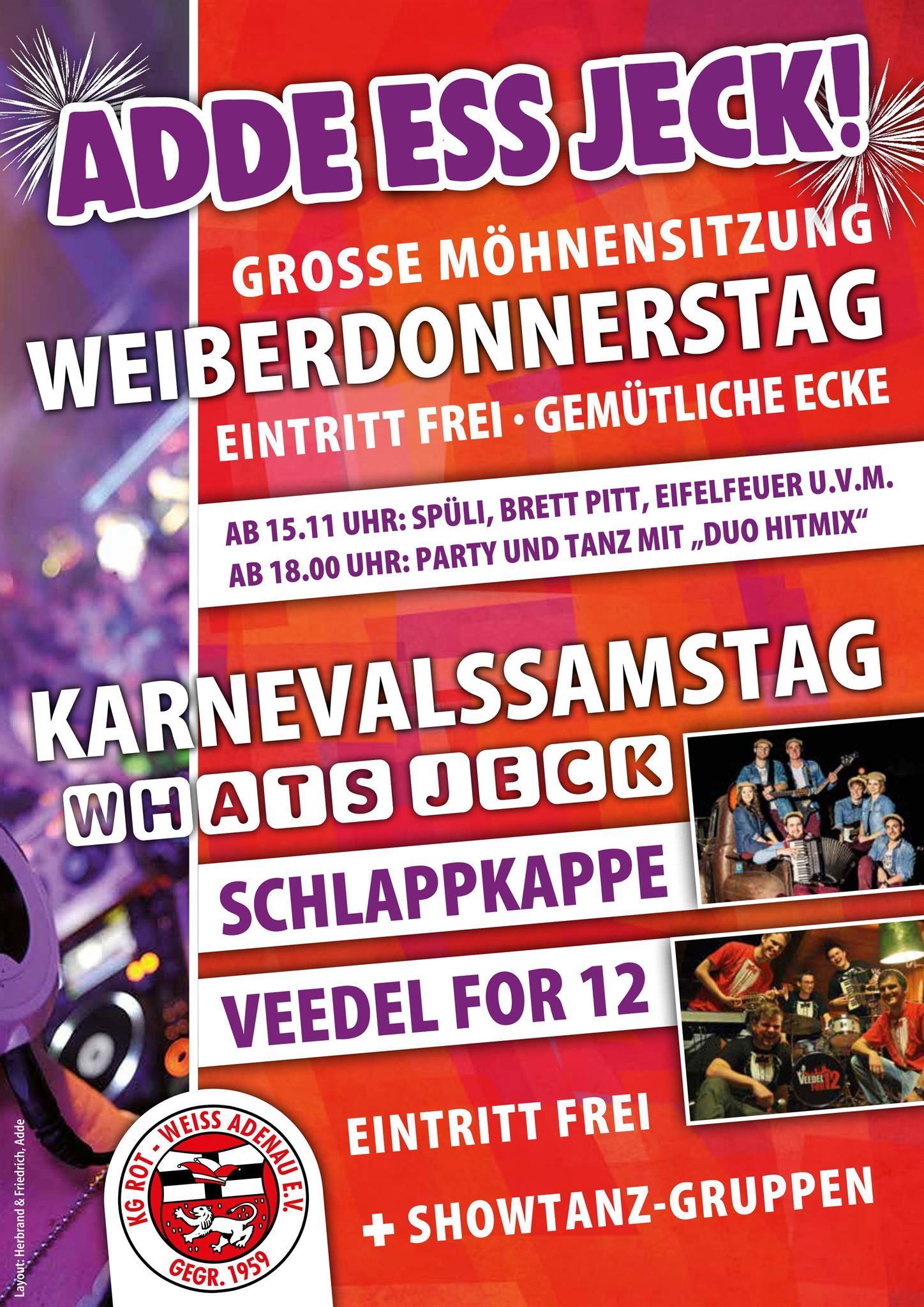 Plakat Adde Ess Jeck!, @ KG Rot-Weiß Adenau e. V.