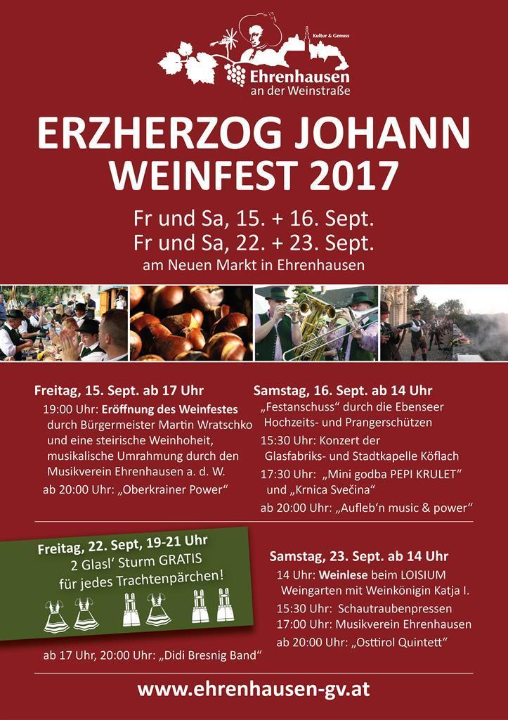 Südsteirische Weinstraße - Erzherzog Johann Weinfest 2017