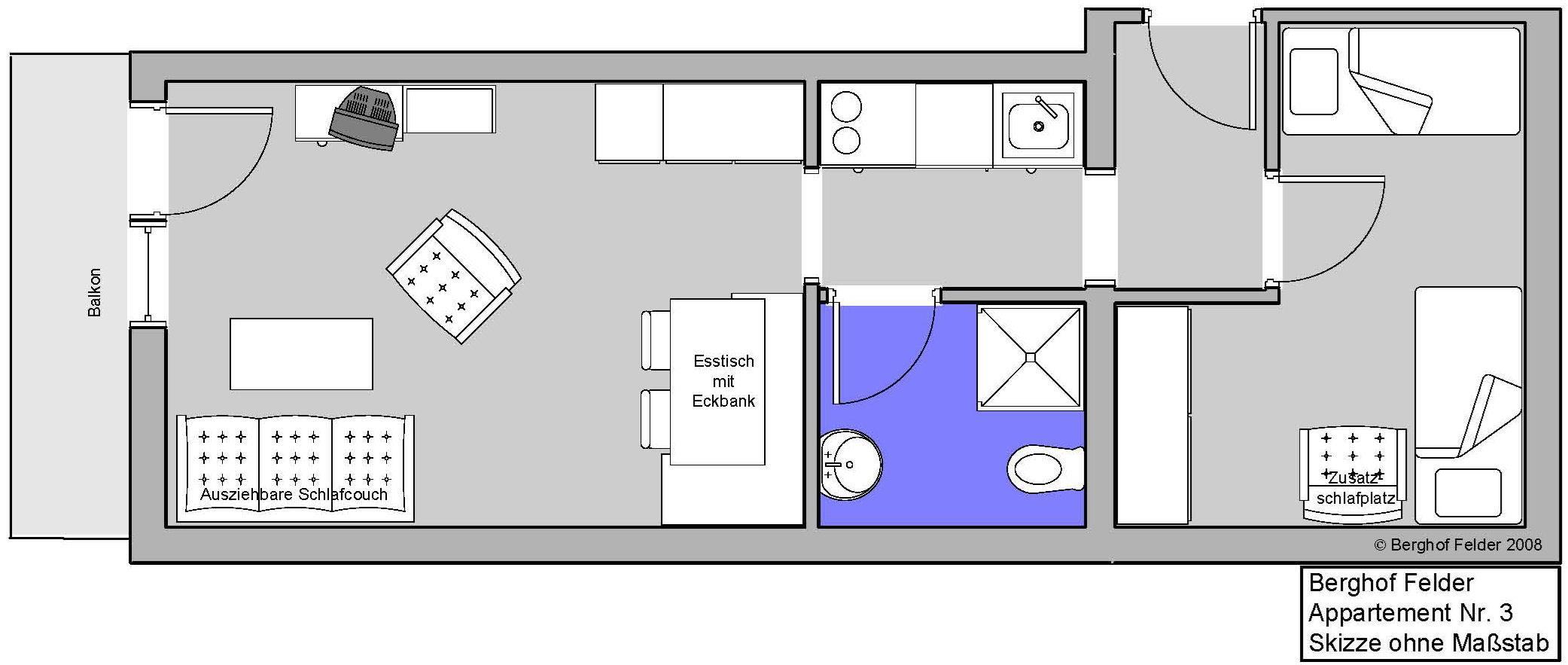 Ferienwohnung Berghof Felder Apartment -1 Schlafraum DU/WC Nr. 3