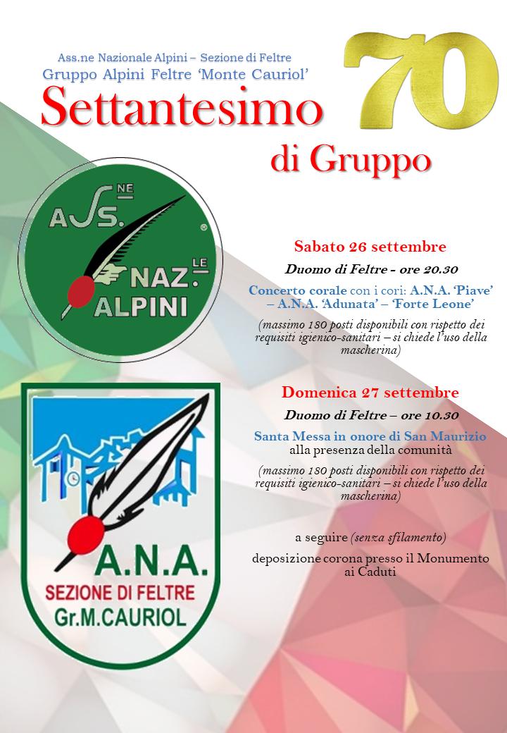 """Settantesimo di gruppo- Alpini Feltre """"Monte Cauriol"""""""