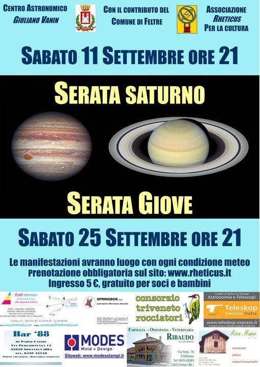 Serata Saturno e Serata Giove